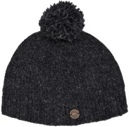 Classic bobble hat - hand knitted - fleece lining - charcoal