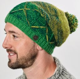 X Slouch - Hand knit - Greens