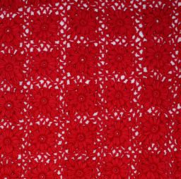 Pure Wool - Crochet Blanket - Red