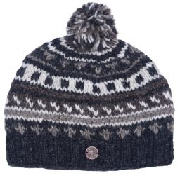 Half fleece lined - pattern ridge bobble hat - Greys/Natural