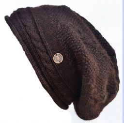 Pure wool - half fleece lined - cable slouch - Chestnut brown