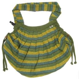 Green - Striped -  Expandable Cotton Bag