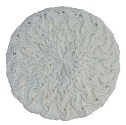 Half fleece lined - scroll beret - White