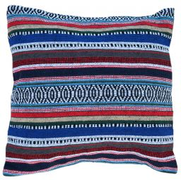 Filled Cushion - Cotton Gheri Front - Denim Blue