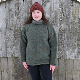hand knit jumper - two tone - Green/brown