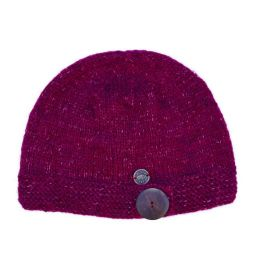Big button cloche - pure wool - fine wool mix - berry