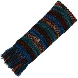 Long pure wool - electric stripe scarf - blue/teal