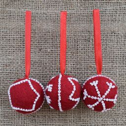 Hand made Felt - Beaded -  Small Christmas Bauble - Red
