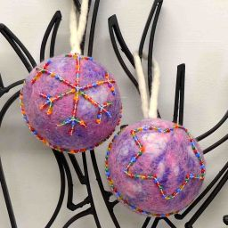 Felt - Beaded - Large Christmas Bauble - Purple