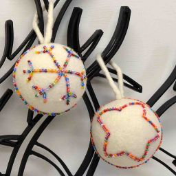 Hand made Felt - Beaded - Large Christmas Bauble - White Rainbow