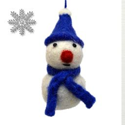 Felt - Christmas Decoration - Snowman - Blue