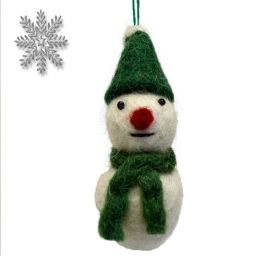 Felt - Christmas Decoration - Snowman - Green