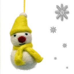 Felt - Christmas Decoration - Snowman - Yellow
