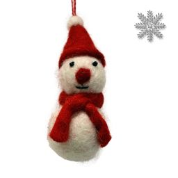 Felt - Christmas Decoration - Snowman - Red