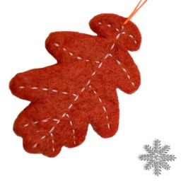 Hand Felted - Christmas Decoration - Oak Leaf