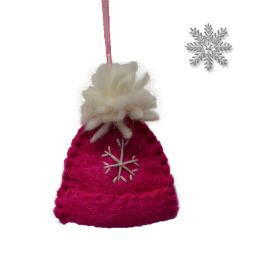 Handmade Felt - Christmas Decoration - Bobble Hat - Pink