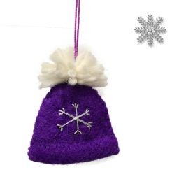Handmade Felt - Christmas Decoration - Bobble Hat - Purple
