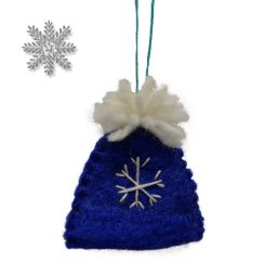 Handmade Felt - Christmas Decoration - Bobble Hat - Blue