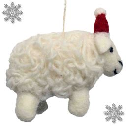 Hand Felted - Christmas Decoration - Sheep - Natural white