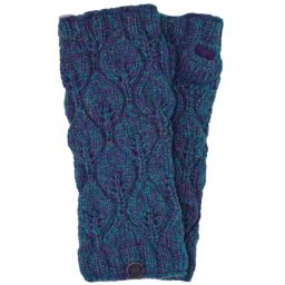 Fleece lined - leaf pattern -  wristwarmers - Blue Heather