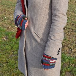 Pure wool - Block stripe wristwarmers - multi coloured