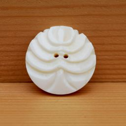 Hand carved - stylized tree button - cream