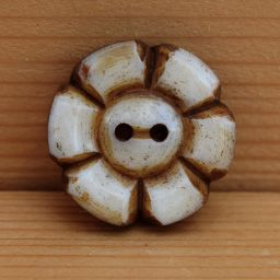 Chunky - hand carved - six petal flower - button