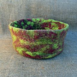 Hand made felt - bowl - warm brown/green