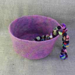 Hand made felt - bowl - mauve/pinks