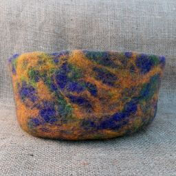 Hand made felt - bowl - ochre/purple/green