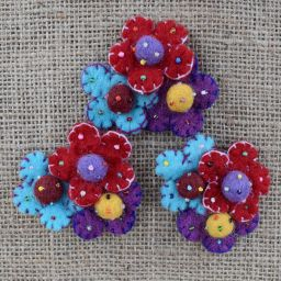 Three flower brooch - hand made felt - bright red, turquoise and purple