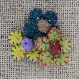 Three flower brooch - hand made felt - autumn mustard/teal/green