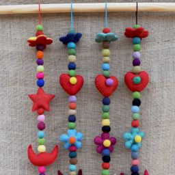 Long mobile - handmade felt - heart
