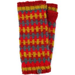 NAYA - Fleece lined wristwarmers - geometric - spices