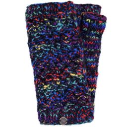 Hand knit - blackberry stitch - wristwarmer - black/multi coloured