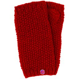 Pure wool - moss stitch wristwarmer - deep red
