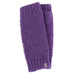 Pure wool - moss stitch wristwarmer - grape