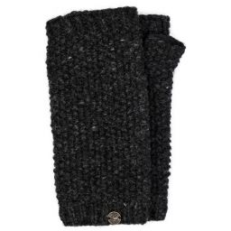 Pure wool - moss stitch wristwarmer - charcoal