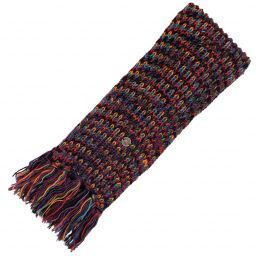 Hand knit - long length scarf - multi colour electric - grape