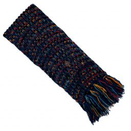 Hand knit - long length scarf - multi colour electric - teal