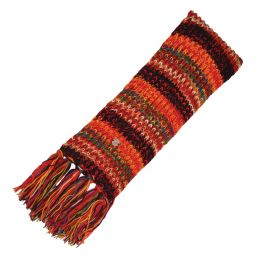 Long hand knit - electric stripe scarf - Black Yak