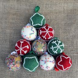 Hand made Felt - Beaded -  Small Christmas Baubles - Set - OFFER £10 FOR FOUR