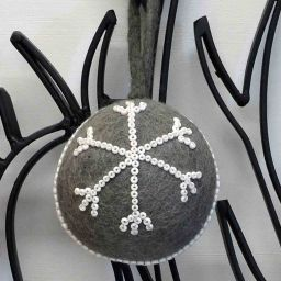 Hand made Felt - Beaded -  Large Christmas Baubles - Soft Grey