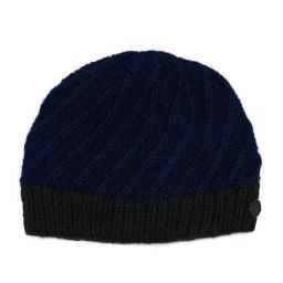 Pure wool - half fleece lined - border beanie - Dark blue/dark green