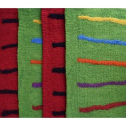 Handmade felt - striped mat - rectangle - green/multi