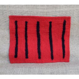Handmade felt - striped mat - rectangle - red/black