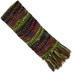 Long pure wool - electric stripe scarf - green
