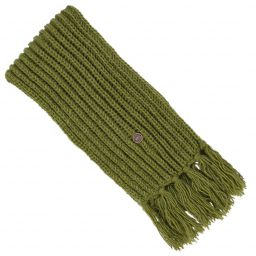 Long hand knit - fringed scarf - moss green