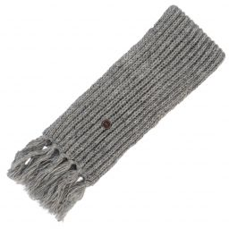 Long hand knit - fringed scarf - pale mid grey