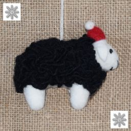 Hand Felted - Christmas Decoration - Sheep - Black